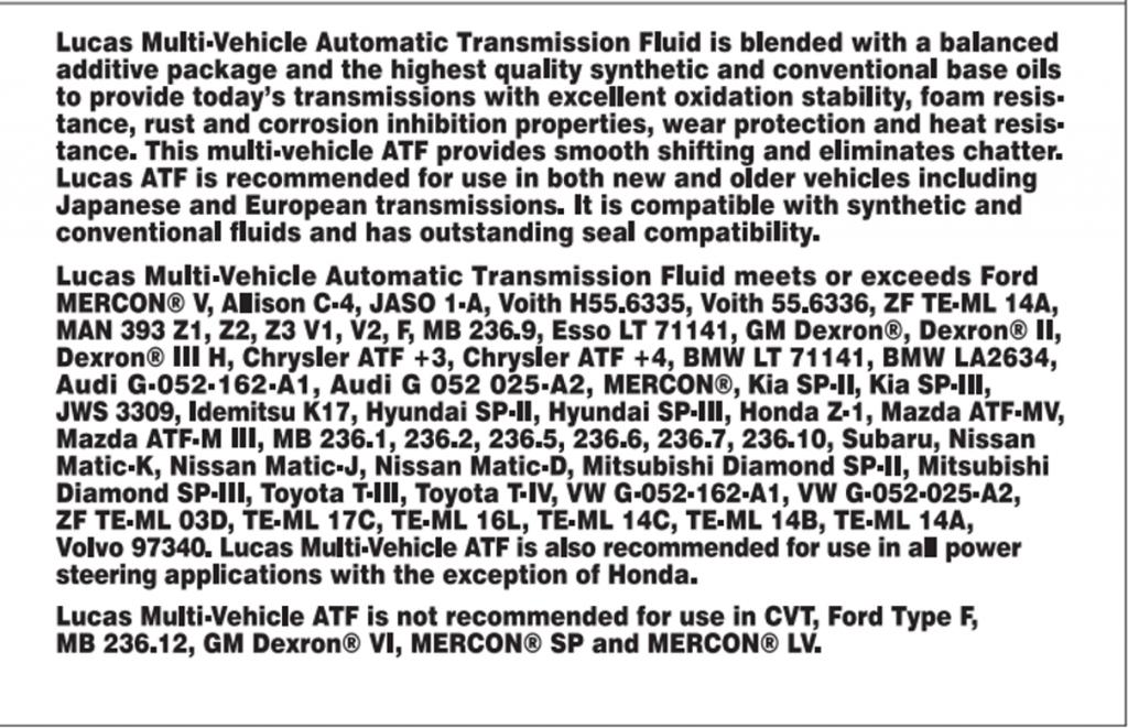 Specifiche Tecniche  Marche e Modelli Veicoli Fluido Trasmissione AUtomatica