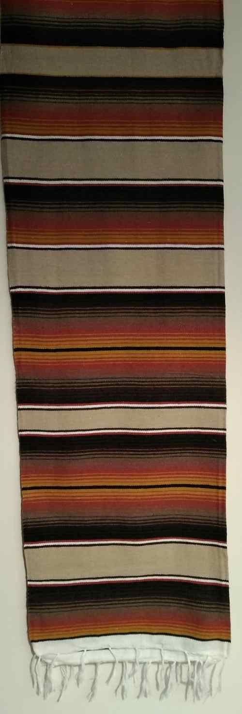 Brown-White Mexican Serape Coperta Mex Moto