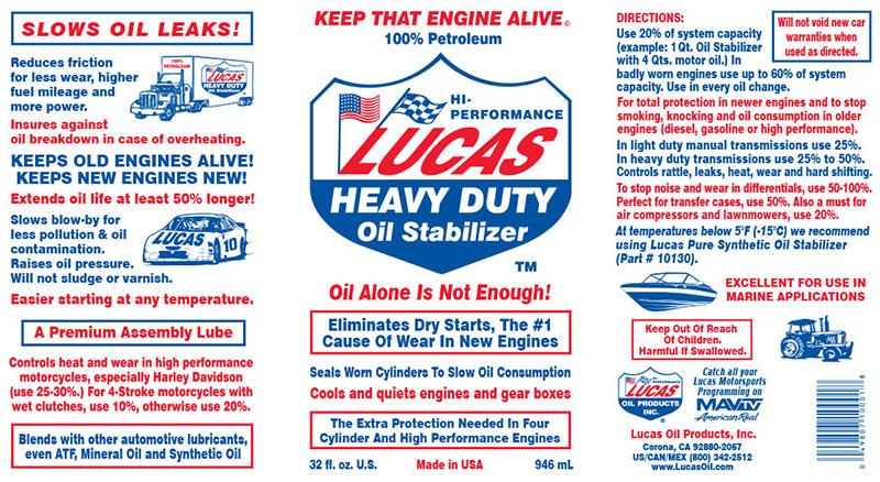 Stabilizzatore Heavy Duty Additivo Olio Lucas Oil ✓