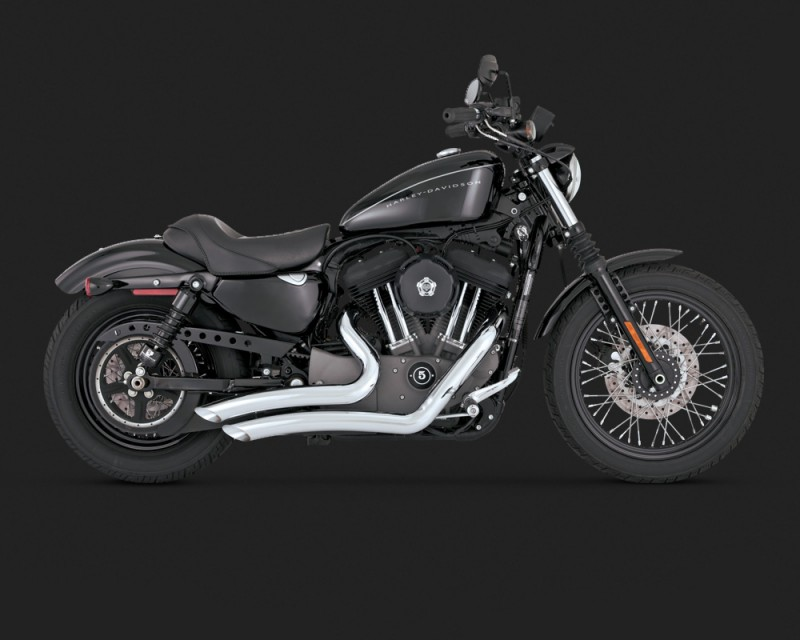 Harley Big Radius Scarico Cromato Bobber Cafe-Racer Vance & Hines